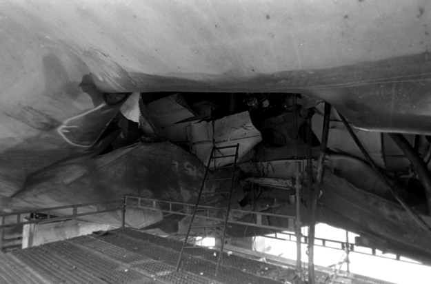 A view of damage to the hull of the guided missile frigate USS SAMUEL B. ROBERTS (FFG-58) sustained when the ship struck a mine while on patrol in the Persian Gulf on April 14, 1988. US Navy Photo