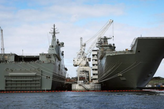 Australia's two Canberra-class amphibious warships. RAN Photo