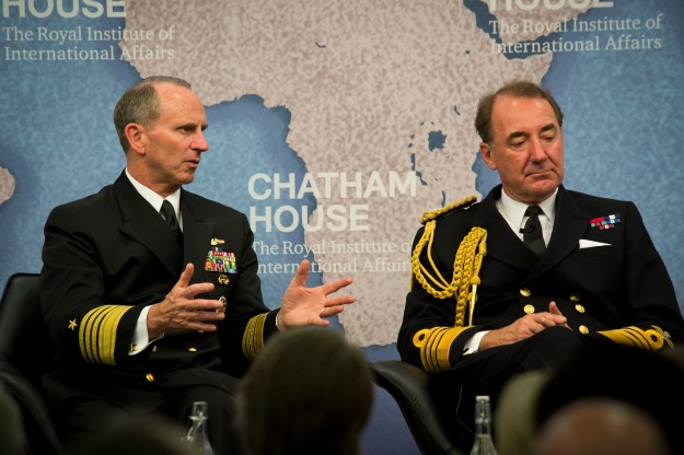 Chief of Naval Operations (CNO) Adm. Jonathan Greenert and First Sea Lord of the Royal Navy Adm. Sir George Zambellas participate in a moderated talk focused on the future of the British-American naval alliance at Chatham House, the Royal Institute of International Affairs on July 15, 2015. US Navy Photo