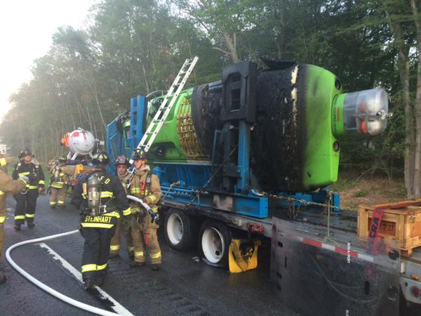 Submersible Deepsea Challenger on July 23, 2015 following an early morning accident. Connecticut State Police Photo