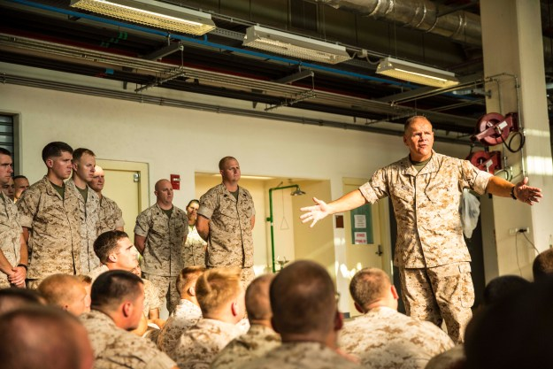 Lt. Gen. Robert Neller, Commander, U.S. Marine Corps Forces, Europe, visited Naval Air Station Sigonella to meet service members with the second iteration of SP-MAGTF Africa 14, Aug. 9, 2014. US Marine Corps photo.