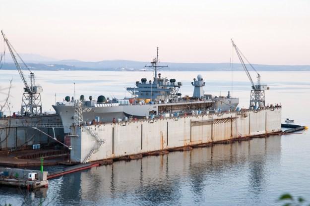 USS Mount Whitney (LCC-20) in dry dock at the Viktor Lenac Shiyard in 2011. Photo via Wikipedia