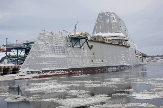 Guided missile destroyer Zumwalt (DDG-100) at General Dynamic Bath Iron Works on Feb. 20, 2015. US Navy Photo