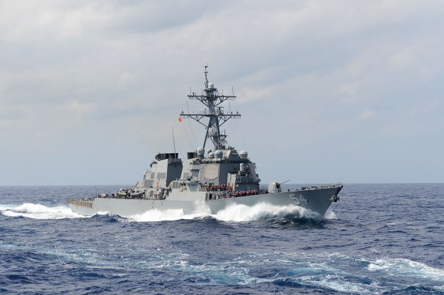 USS Curtis Wilbur (DDG 54) transits the East China Sea in 2013. US Navy Photo
