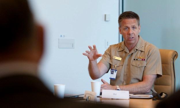 Adm. Phillip Davidson, commander of U.S. Fleet Forces Command, delivers remarks on April 2, 2015. US Navy Photo