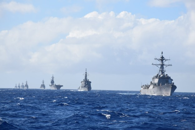 The Arleigh Burke-class guided missile destroyer USS McCampbell (DDG 85), not pictured, takes lead in a formation of ships from the U.S. Navy and Japan Maritime Self-Defense Force (JMSDF) as part of the annual bilateral Guam Exercise (GUAMEX) on Jan. 21, 2016. US Navy photo.