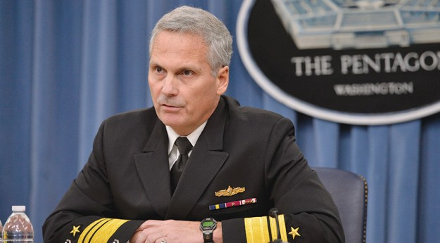 Vice Adm. James Syring briefing at the Pentagon. DoD Photo