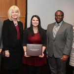 """VICTORIA """"TORI"""" YORK, center, Highlandville, a May 2015 graduate of Missouri State University-West Plains and a senior at Missouri State-Springfield, was one of six students who received the 2016-17 Citizen Scholar Award presented today, Dec. 15, by the Missouri State University Board of Governors. The award, established in fall 2007, is given annually to students """"who exemplify the concept of a citizen scholar,"""" university officials said. With York above are, from left, board members Kendall Seal, Kansas City, and Virginia Fry, Springfield; student board member Tyree Davis, Springfield; and board member Carrie Tergin, Jefferson City. (Missouri State-West Plains Photo)"""