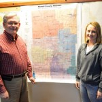 HOWELL COUNTY CLERK Dennis VonAllmen and Shelby Collins, Vanzant, look over a map of the county's voting precincts. Collins, a student in one of Dr. Kathy Morrison's American Democracy and Citizenship (PLS 101) classes at Missouri State University-West Plains, served as a poll worker Nov. 8 as part of a service learning project for the class. (Missouri State-West Plains Photo)
