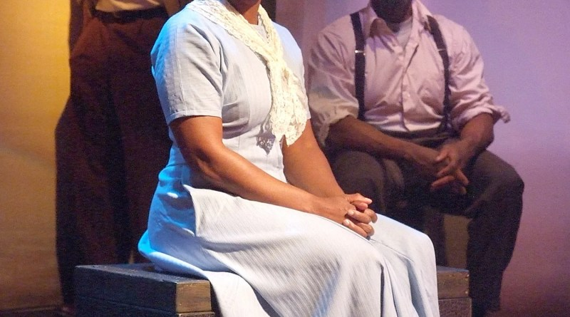 """Karen Malinda White (center), Rico E. Anderson and Bernard Addison are part of the award-winning stage play, """"The Ballad of Emmett Till."""" The play, written by Ifa Bayeza, chronicles the young life and early death of the 14-year-old Till in 1955./Photo Credit: Ed Krieger"""