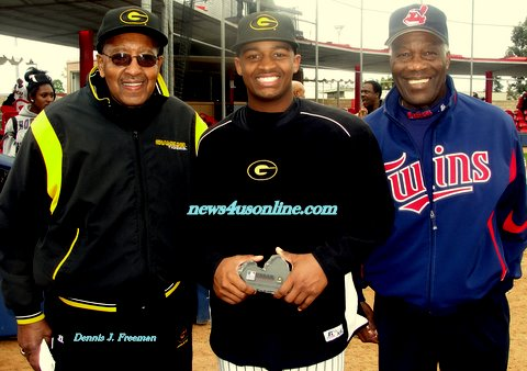 "Jim ""Mudcat"" Grant (right), Grambling State pitcher Adrian Turner at the first day of Major League Baseball's Urban Invitational in Compton, CA./Photo Credit: Dennis J. Freeman/news4usonline.com"