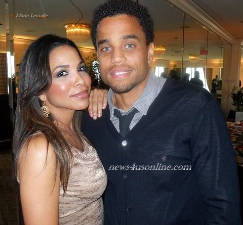 Actress Maya Gilbert (TNT's Southland) and actor Michael Ealy chat it up a recent gala honoring the work of The Brotherhood/Sister Sol./Photo Credit: Marie Lemelle/news4usonline.com
