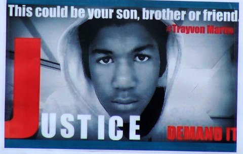 Image of slain teenager Trayvon Martin at a rally in Los Angeles.