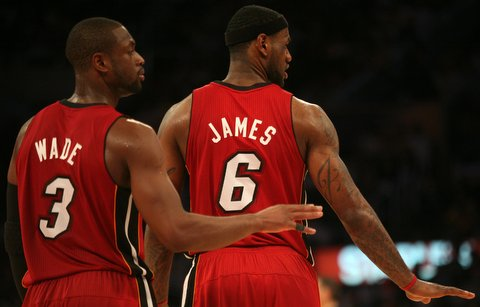 "Super Duo: Miami Heat All-Star guard Dwayne Wade (left) may be known as ""Batman, but LeBron James is the NBA's MVP this season. Photo Credit: Burt Harris, courtesy of HGSTAR1News"