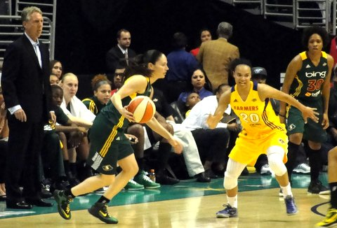 Los Angeles Sparks guard Kristi Toliver was team's top scorer against the Seattle Storm. Photo Credit: Dennis J. Freeman