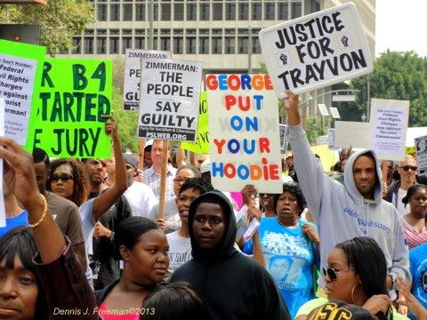 Demonstrators in Los Angeles show their displeasure over the George Zimmerman verdict. Photo: Dennis J. Freeman