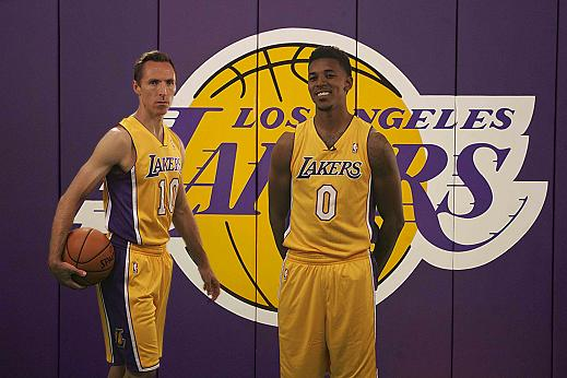 Steve Nash and Nick Young at the Los Angeles Lakers Media Day. Photo Credit: Jevone Moore/News4usonline.com