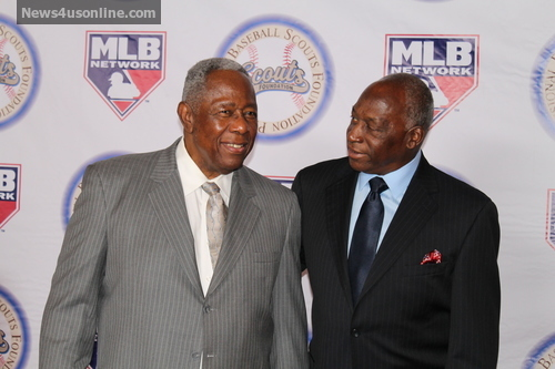 Hank Aaron hit his 715th home run off of pitcher Al Downing. Aaron and Downing at the Professional Baseball Scouts Foundation dinner gala in Los Angeles. Photo Credit: Dennis J. Freeman/News4usonline.com