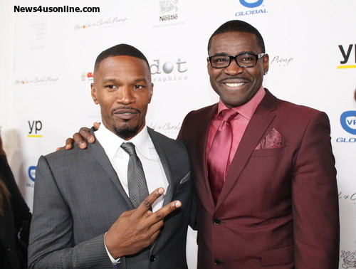 Academy Award-winning actor Jamie Foxx and NFL Hall of Fame wide receiver Michael Irving on the red carpet. Photo Credit: Dennis J. Freeman/News4usonline.com