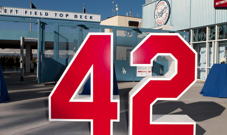 Los Angeles Dodgers Retired #42 Jackie Robinson on top deck patio. Photo by Jevone Moore