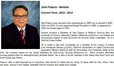 SAUSD Trustee John Palacio