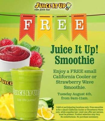 Free smoothie at Juice it Up