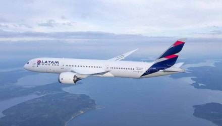 LATAM Boeing 787-9 Dreamliner photographed on May 13, 2016 from Wolfe Air Aviation Learjet 25B.