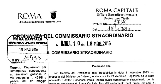Emissioni gassose in via Anagnina, previsto intervento della Protezione Civile