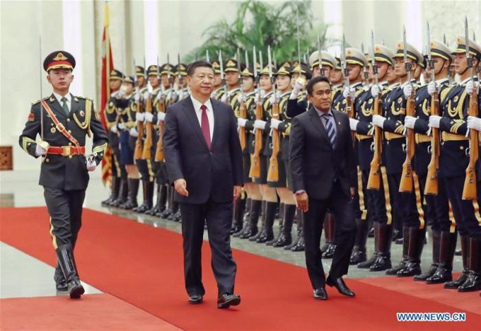Yameen's visit to Beijing: China trumpets OBOR pact, Maldives hails FTA
