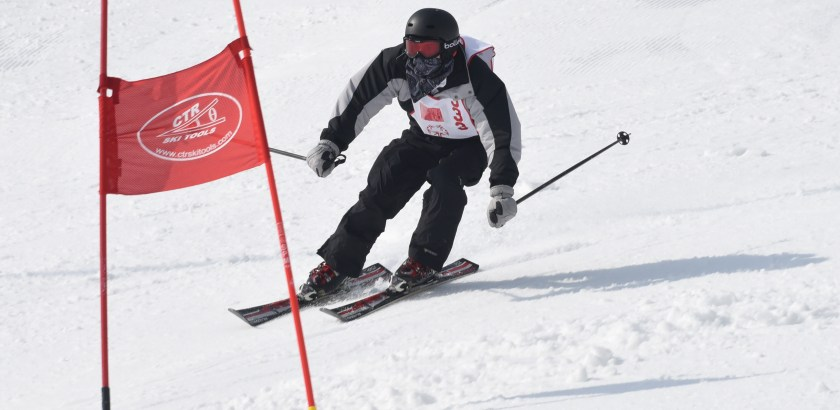 Bob Donaldson/Post-Gazette. 020816.  Special Olympics. Standalone. Local. Alexander Reeder of Allegheny Co. makes a tight turn at a gate on his first run in the Intermediate class Alpine Skiing at the Pennsylvania Special Winter Olympics at Seven Springs resort. Writer: Standalone. Story Slug: not available