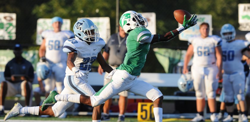 Central Valley's Tyler Walker, #23, chases donw South Fayette's Camron Garland, #3, as Garland tries to control the ball in the half of the game at South Fayette High School. (Rebecca Droke/Post-Gazette)