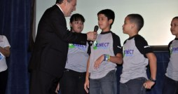 Education Secretary Edward Moreno shares a moment with the children participating in the Kinect in your hands learning program at the Mara C. Osorio School in Toa Alta.