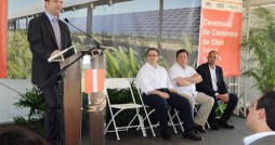 Sonnedix CEO Andreas Mustad (at podium) speaks during Wednesday's groundbreaking, as Secretary of State Kenneth McClintock, Economic Development and Commerce Secretary José R. Pérez-Riera and Salinas Mayor Carlos Rodríguez-Mateo listen.