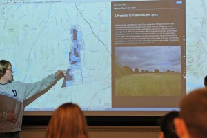 Angus McLean '16 speaks about protected open space near the Sumner Brook Corridor in Middletown.