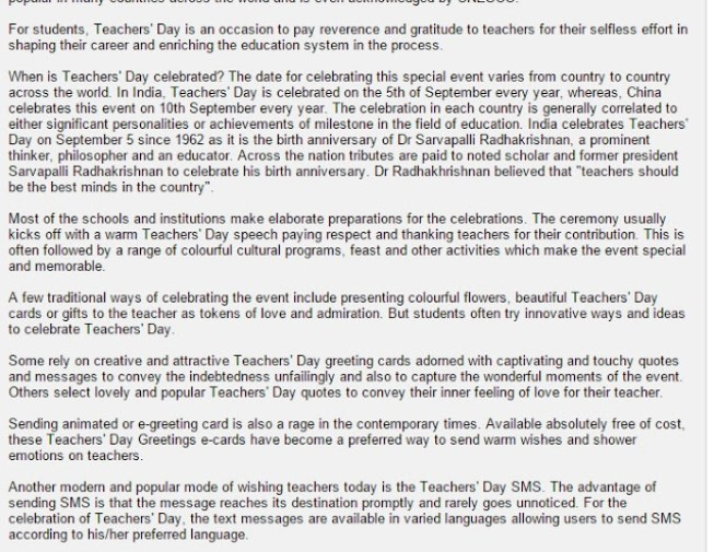 Teachers day essay for college