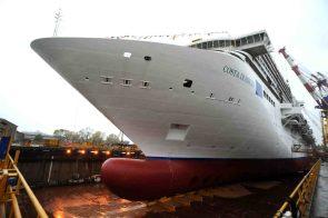 Die Costa Diadema wurde jetzt zum ersten Mal in der Werft Fincantieri in Marghera zu Wasser gelassen. © Costa Kreuzfahrten