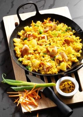 Curry-Risotto mit Huhn (Rezept für Diabetiker) Foto: Wirths PR