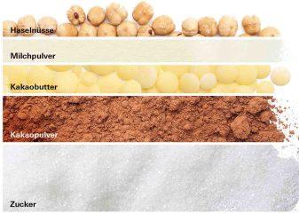 Die Zutaten für Nussschokolade © Stiftung Warentest