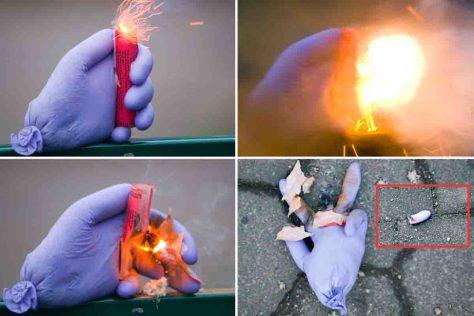 Eine Unsachgemäße Anwendung von Feuerwerkskörpern kann schwere Verletzungen hervorrufen, wie diese Collage mit Fotos von Michael Wolters (VdF) zeigt