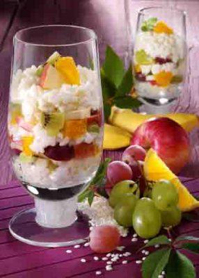 Milchreis mit frischem Obst (laktosefrei) Foto: Wirths PR