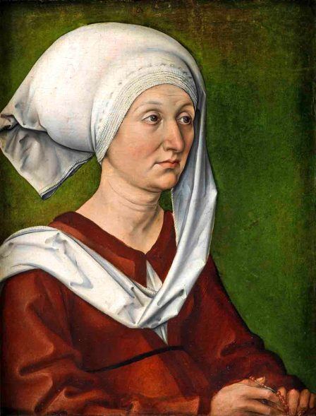 Albrecht Dürer (1471–1528) Bildnis der Mutter des Künstlers, Barbara Dürer, geb. Holper, um 1490 Tannenholz, 47 x 35,8 cm Germanisches Nationalmuseum, Nürnberg Foto: Germanisches Nationalmuseum, Nürnberg