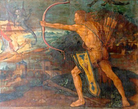 Albrecht Dürer (1471–1528) Herkules im Kampf gegen die stymphalischen Vögel, 1500 Leinwand, 84,5 x 107,5 cm Germanisches Nationalmuseum, Nürnberg © Germanisches Nationalmuseum, Nürnberg