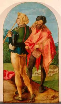 Albrecht Dürer (1471–1528) Trommler und Pfeiffer, um 1503/05 Lindenholz, 94 x 51,2 cm Köln, Wallraf-Richartz-Museum & Fondation Corboud © Rheinisches Bildarchiv Köln, rba_c005674