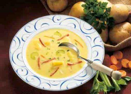 Kartoffelsuppe mit Käse und Schinken Foto: Wirths PR
