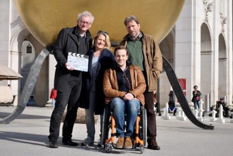 Regisseur Erhard Riedlsperger, Sabine Weber, Florian Teichtmeister, Michael Fitz. Foto: ZDF/Peter Evers
