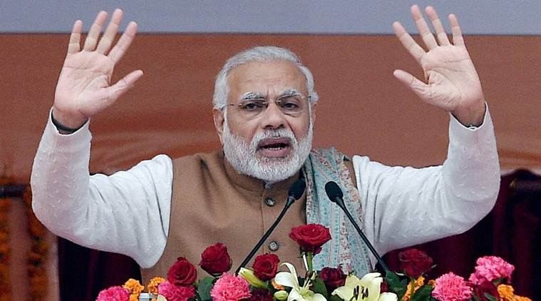 Lucknow : Prime Minister Narendra Modi addressing the BJP Parivartan Rally in Lucknow on Monday. PTI Photo by Nand Kumar (PTI1_2_2017_000140A)