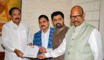 New Delhi: TDP Rajya Sabha MPs Y Sujana Chowdary, TG Venkatesh and CM Ramesh submit their resignation to Rajya Sabha Chairman M Venkaiah Naidu as they resign from the party, in New Delhi, Thursday, June 20, 2019. (PTI Photo) (PTI6_20_2019_000163B)
