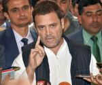 New Delhi: Congress President Rahul Gandhi addresses the media during the winter session at Parliament House in New Delhi on Tuesday. PTI Photo by Manvender Vashist(PTI12_19_2017_000022B)