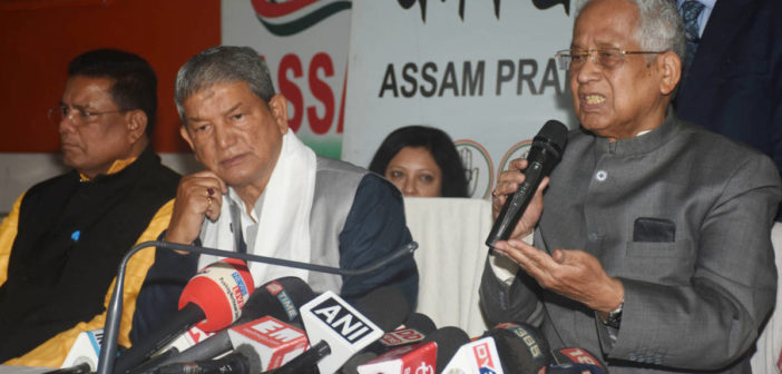 Former Assam Chief Minister Tarun Gogoi with Former Uttarakhand Chief Minister and congress  in-charge of Assam  Harish Rawat and Assam Pradesh Congress Committee (APCC) President Ripun Bora (left)addressing a joint press conference , at Rajiv Bhawan in Guwahati on Friday, December 27, 2019, regarding Congress Leader Rahul Gandhi protest Rally against Citizenship (Amendment) Act (CAA) and National Register of Citizens (NRC) to be held at Veterinary College playground , Khanapara in Guwahati on Saturday 28 December  .
