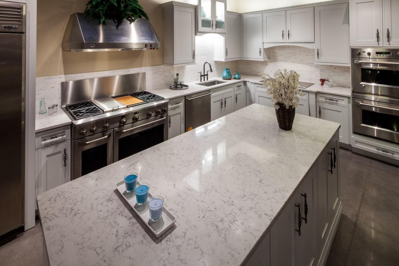 newviewgranite quartz kitchen countertops 3cm Lyra Silestone Kitchen Pencil edge Details 3cm Lyra Silestone Kitchen Pencil edge Details